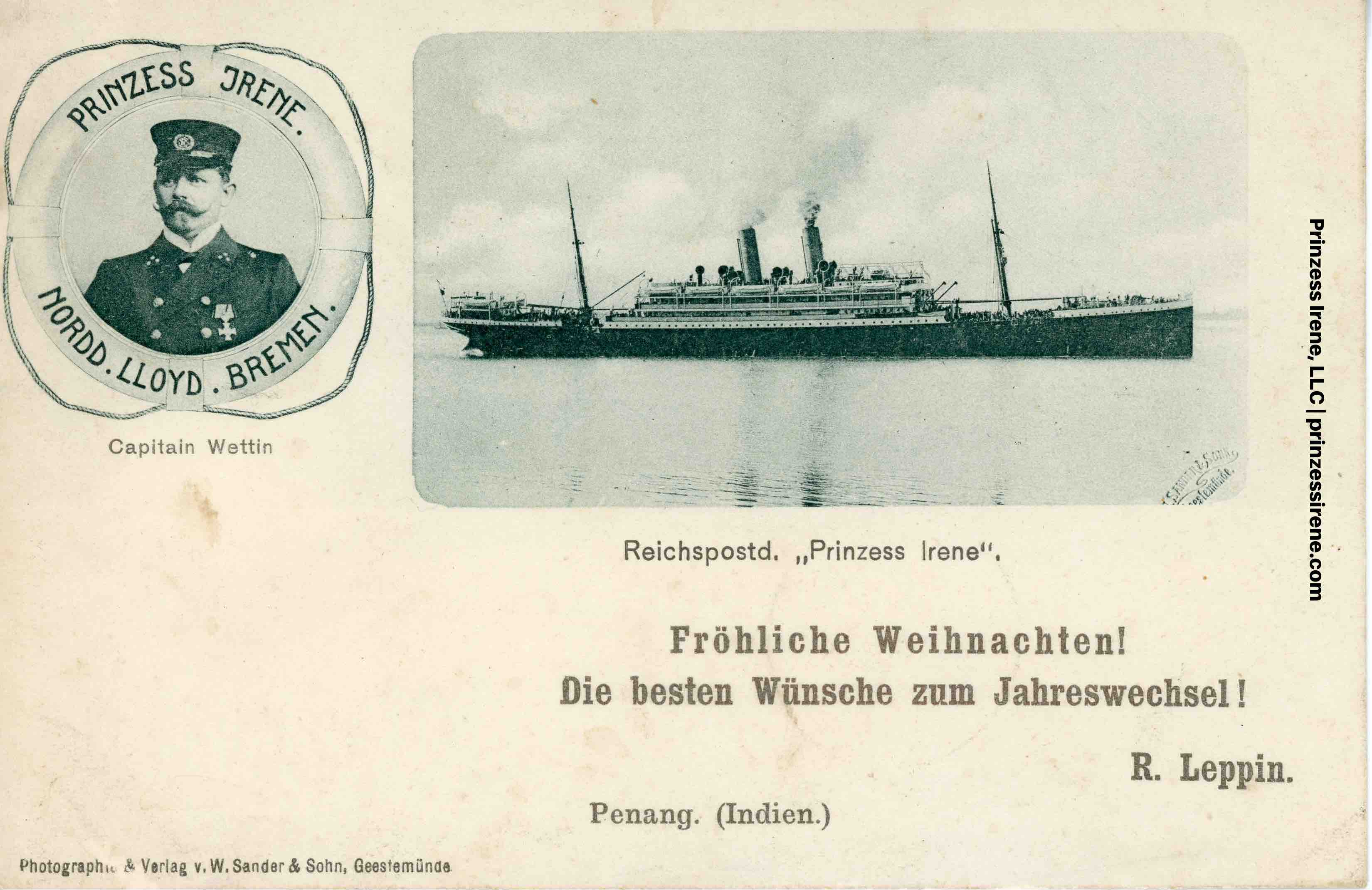 Prinzess Irene. Postcard, postmarked December 3, 1900.