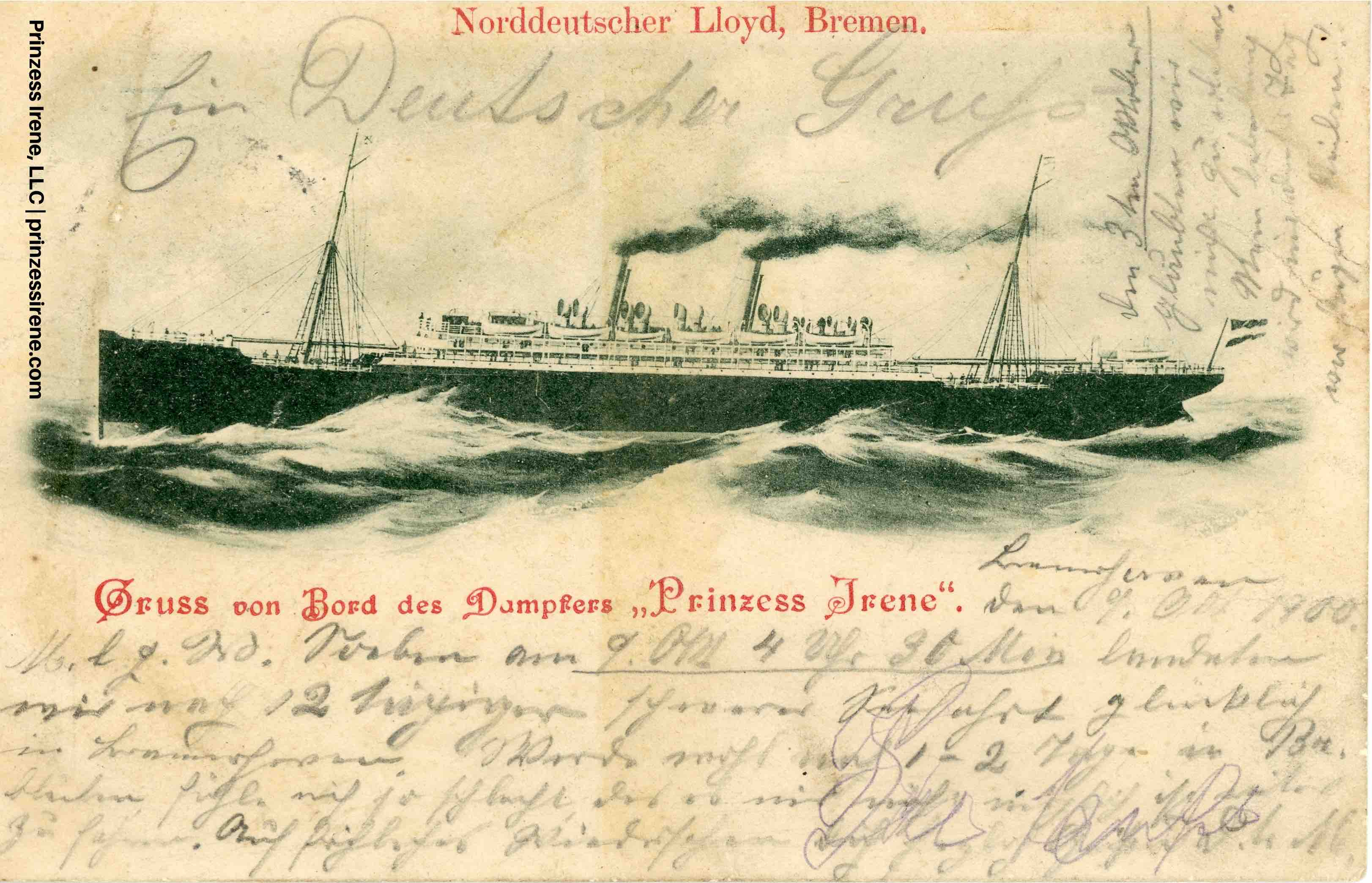 Prinzess Irene. Postcard, dated October 9, 1900.