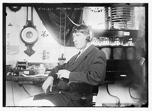 """Wireless operator [Louis M.] Ginsberg of Trent,"" Courtesy U.S. Library of Congress"