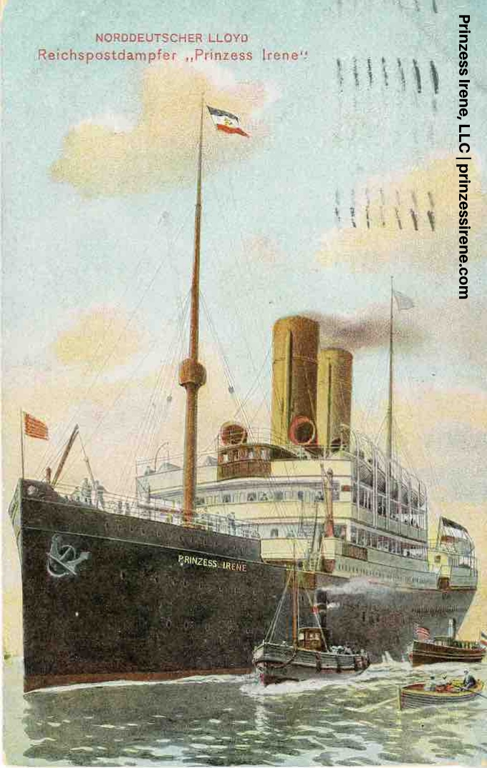 Prinzess Irene in port. Postcard, dated March 9, 1910