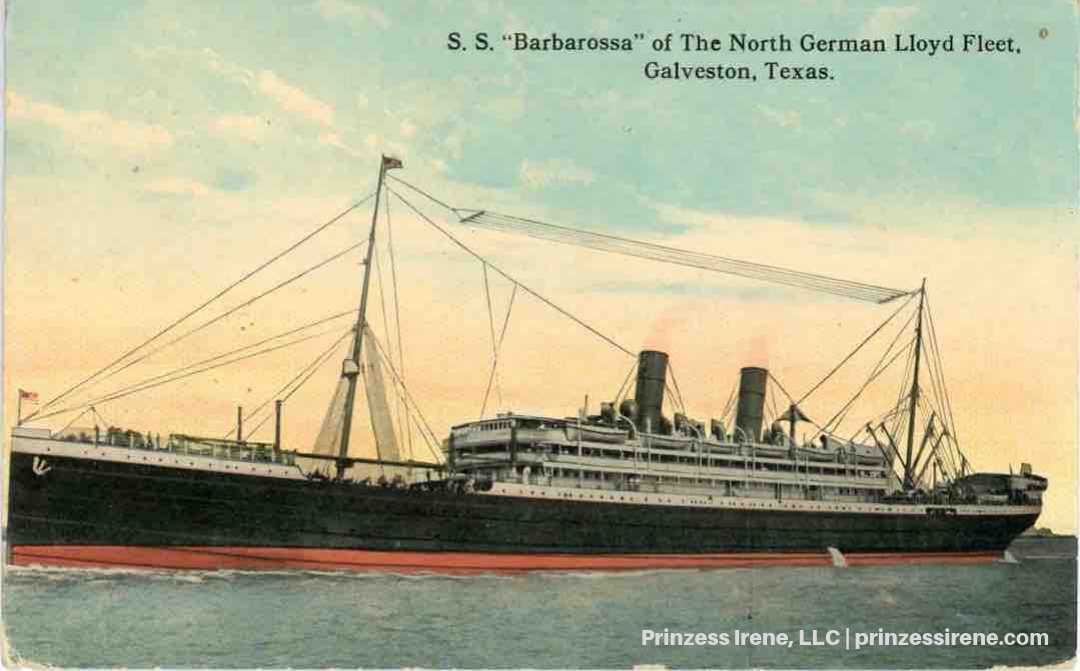 Barbarossa in port at Galveston, August 1907