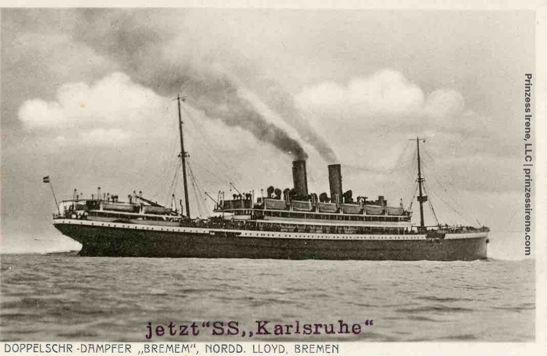 Postcard showing Bremen (first named Prinzess Irene), now renamed Karlsruhe