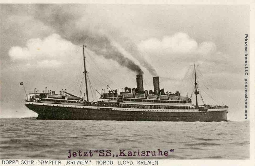 Postcard showing Bremen (first named Prinzess Irene), now renamed Karlsruhe