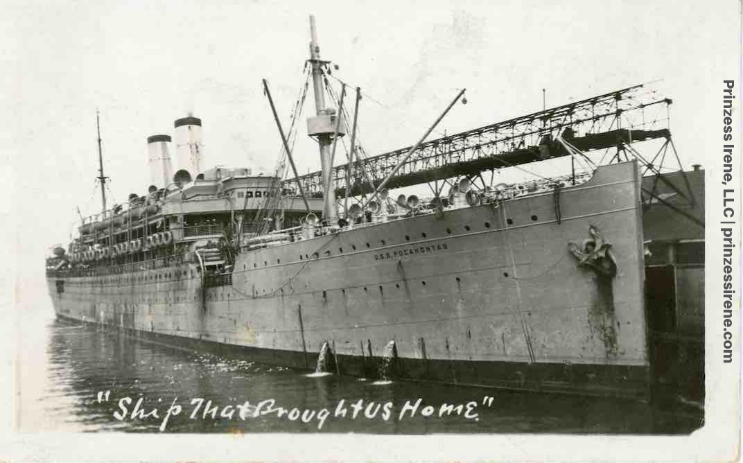 "Pocahontas, ""Ship That Brought Us Home."" Postcard for U.S. troops, 1919."