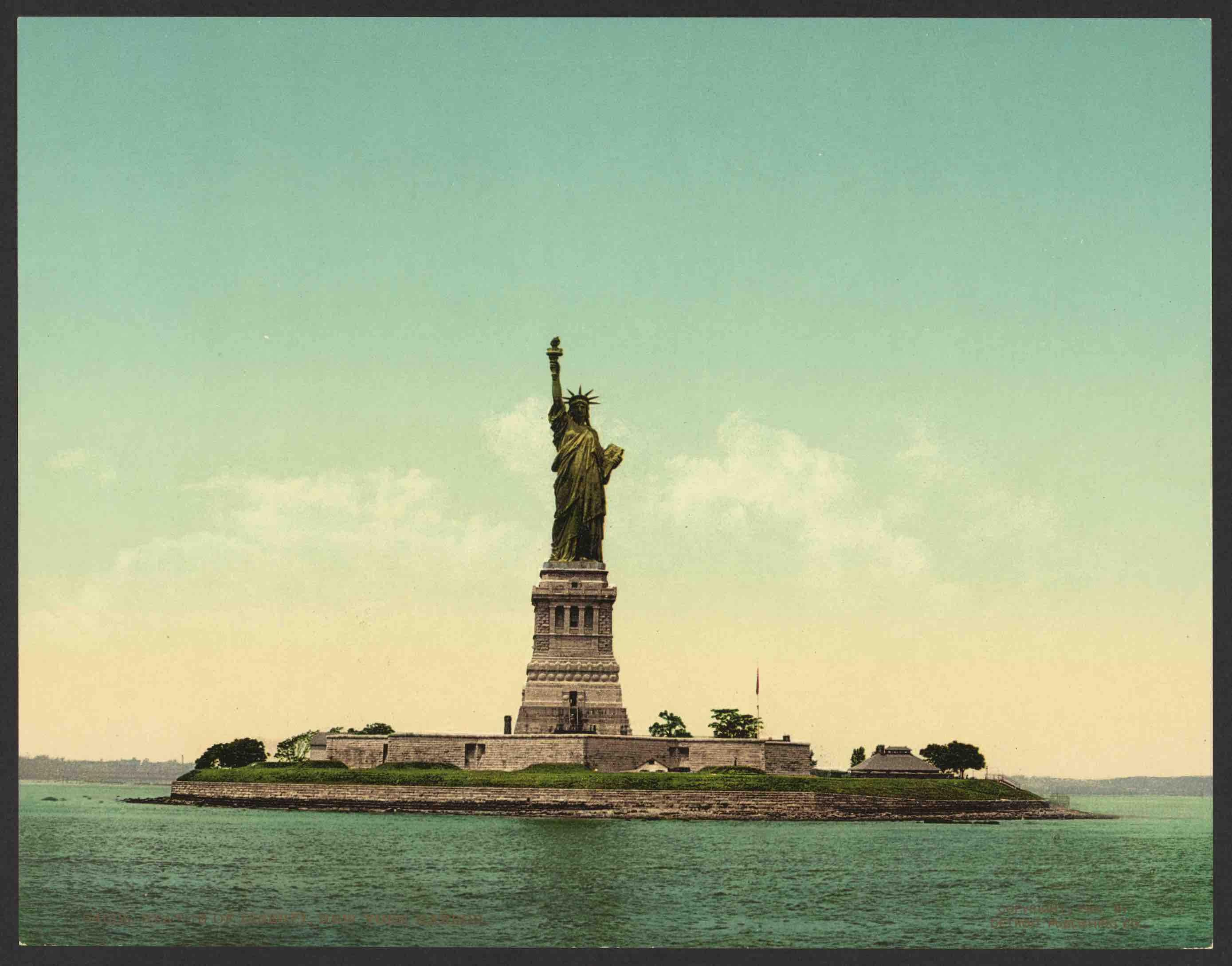 Statue of Liberty in New York Harbor, about 1905. Courtesy, U.S. Library of Congress.