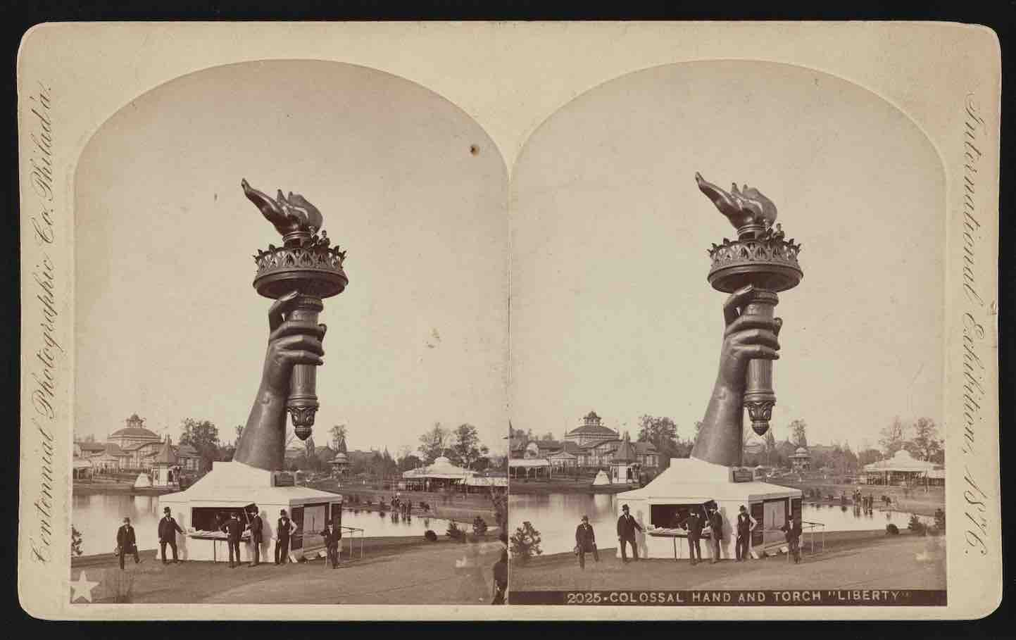 Torch of the Statue of Liberty on display at the Philadelphia Exposition of 1876. Courtesy, U.S. Library of Congress.