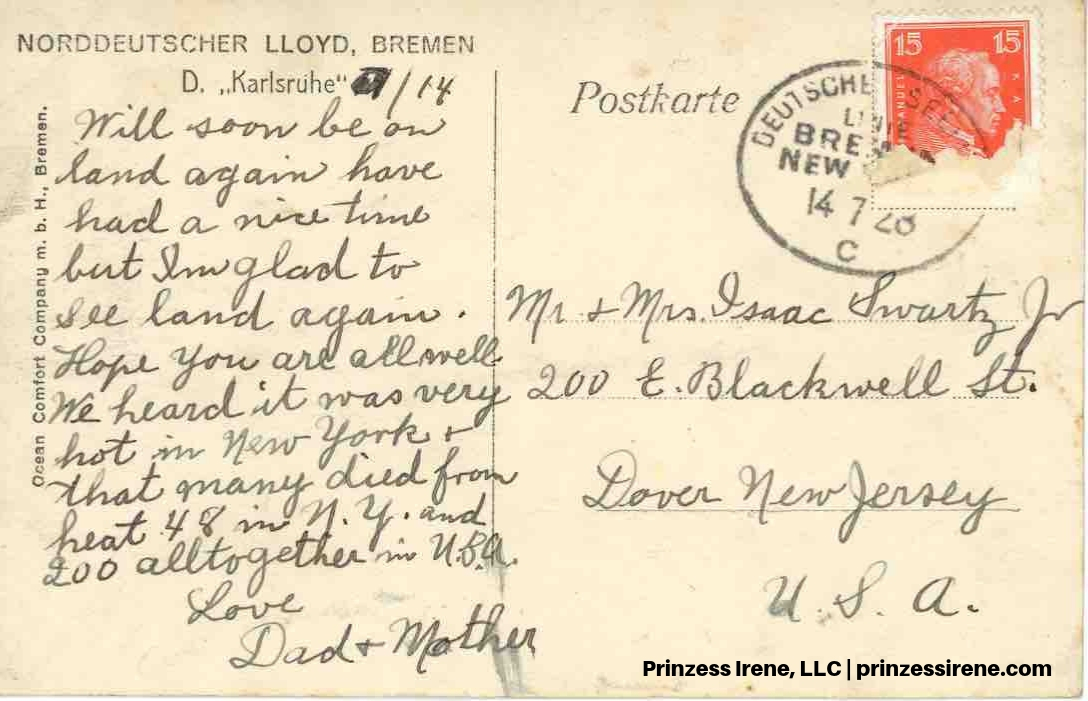 Karlsruhe. Postcard [reverse], postmarked July 14, 1928.