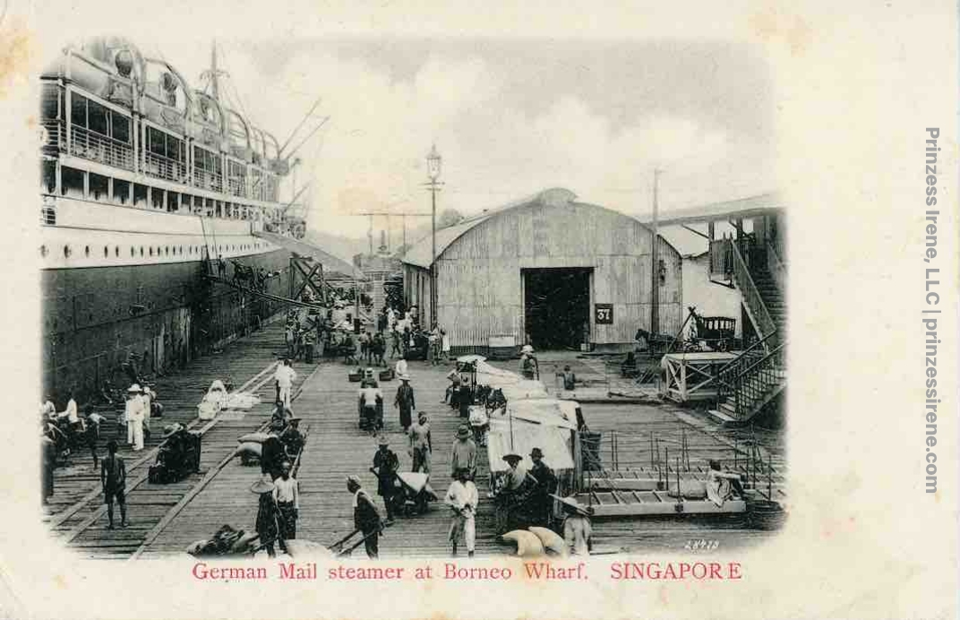 Unidentified ship at Borneo Wharf. Postcard, postmarked December 21, 1908.