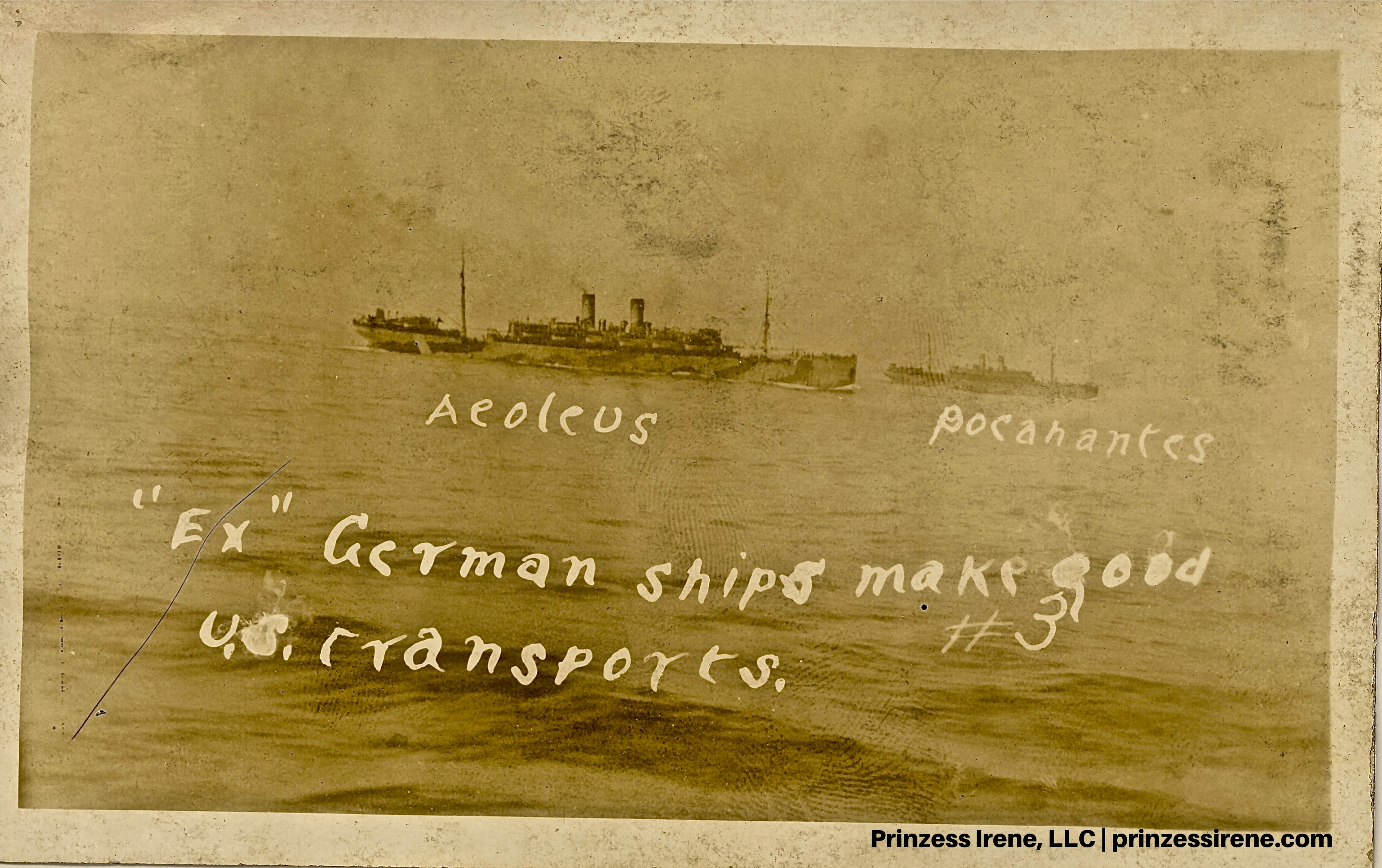 Pocahontas and Aeoleus. Real photo postcard, 1919.