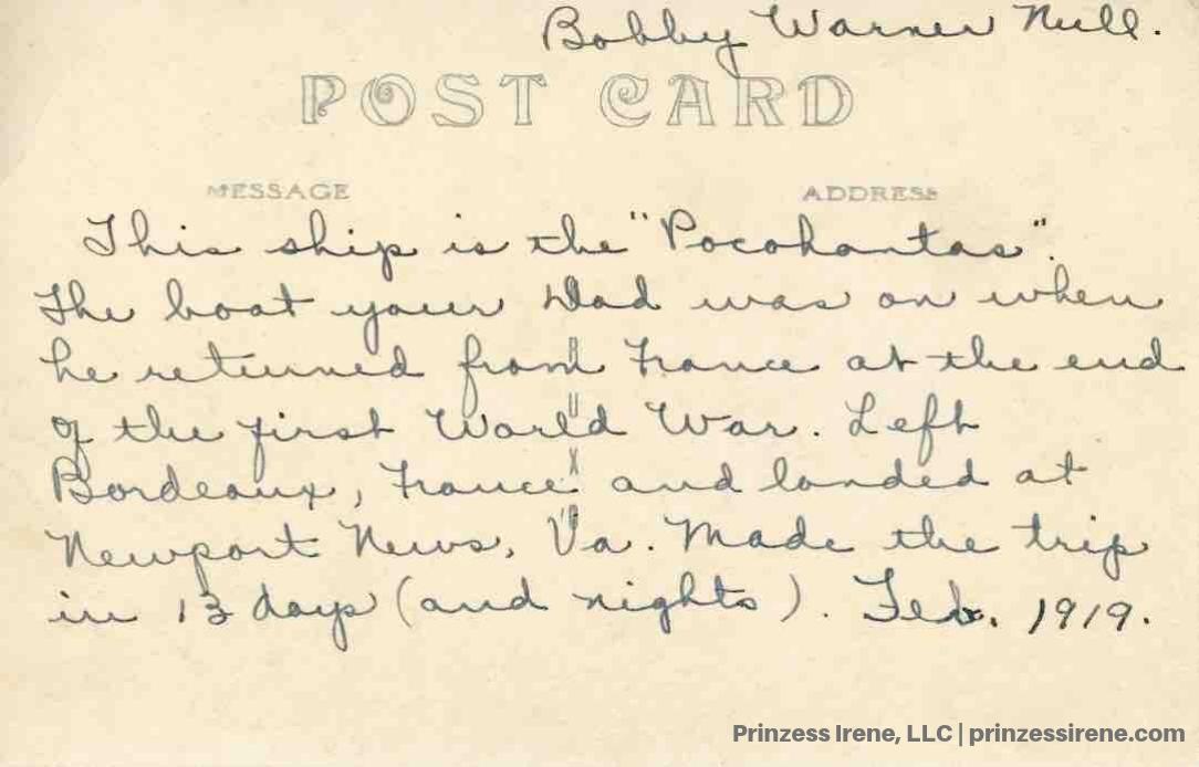 USS Pocahontas. Real photo postcard, 1919.