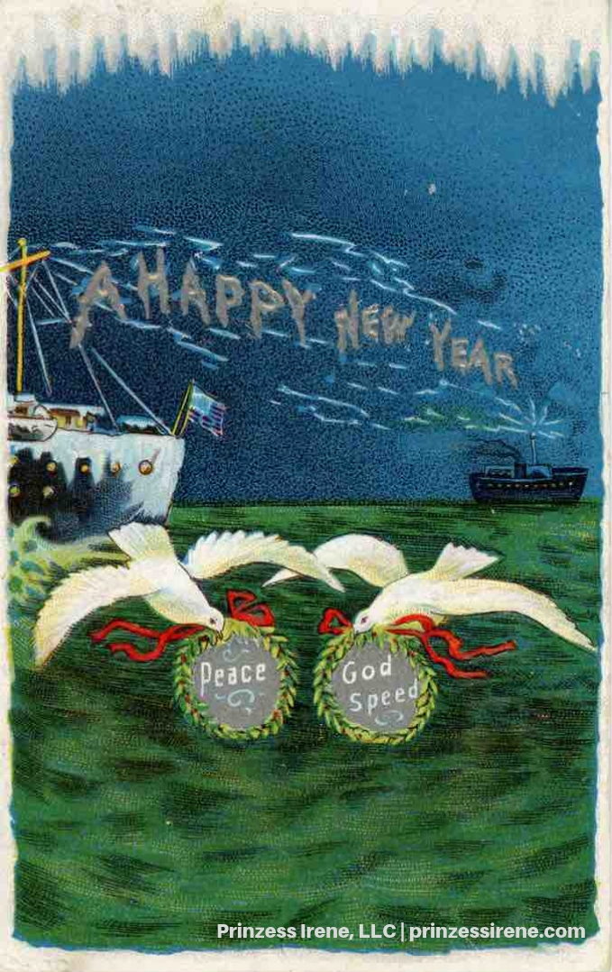 Ship with telegraph. Postcard, postmarked December 27, 1913.