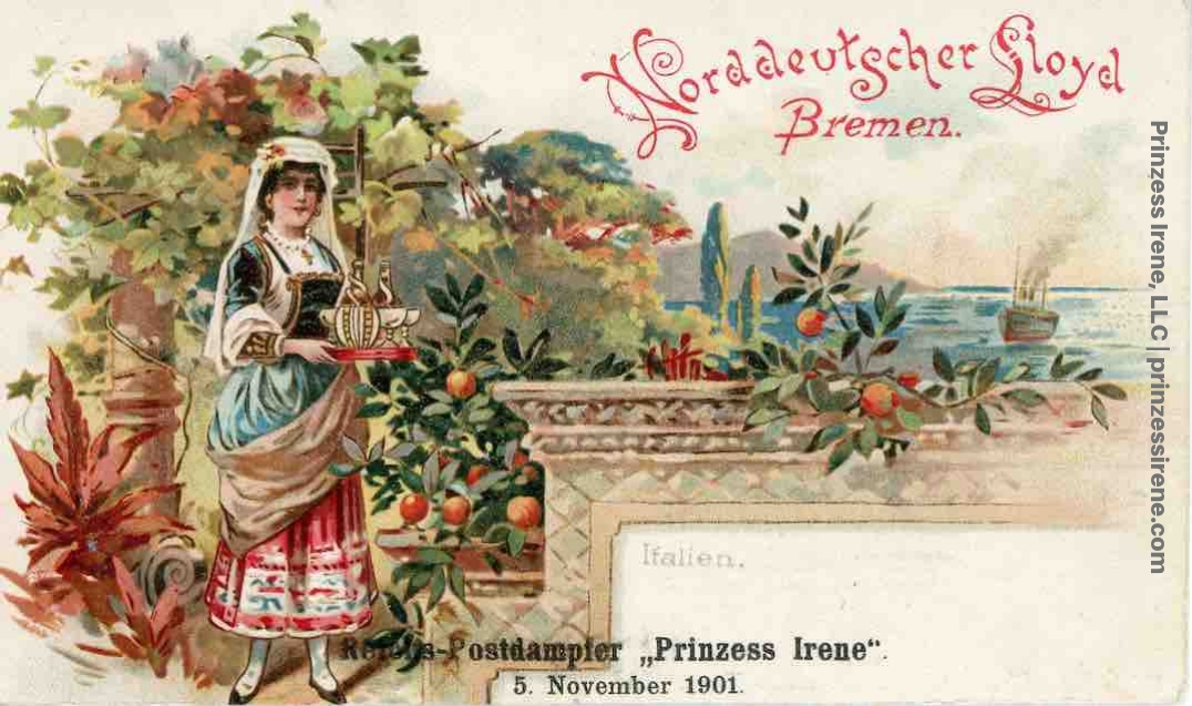 Prinzess Irene. Postcard, dated November 5, 1901.